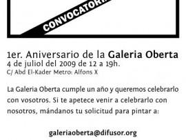 1er. Aniversari Galeria Oberta (convocatòria)1st. Anniversary Open Gallery (open call)1r. Aniversario Galería Abierta (convocatoria)